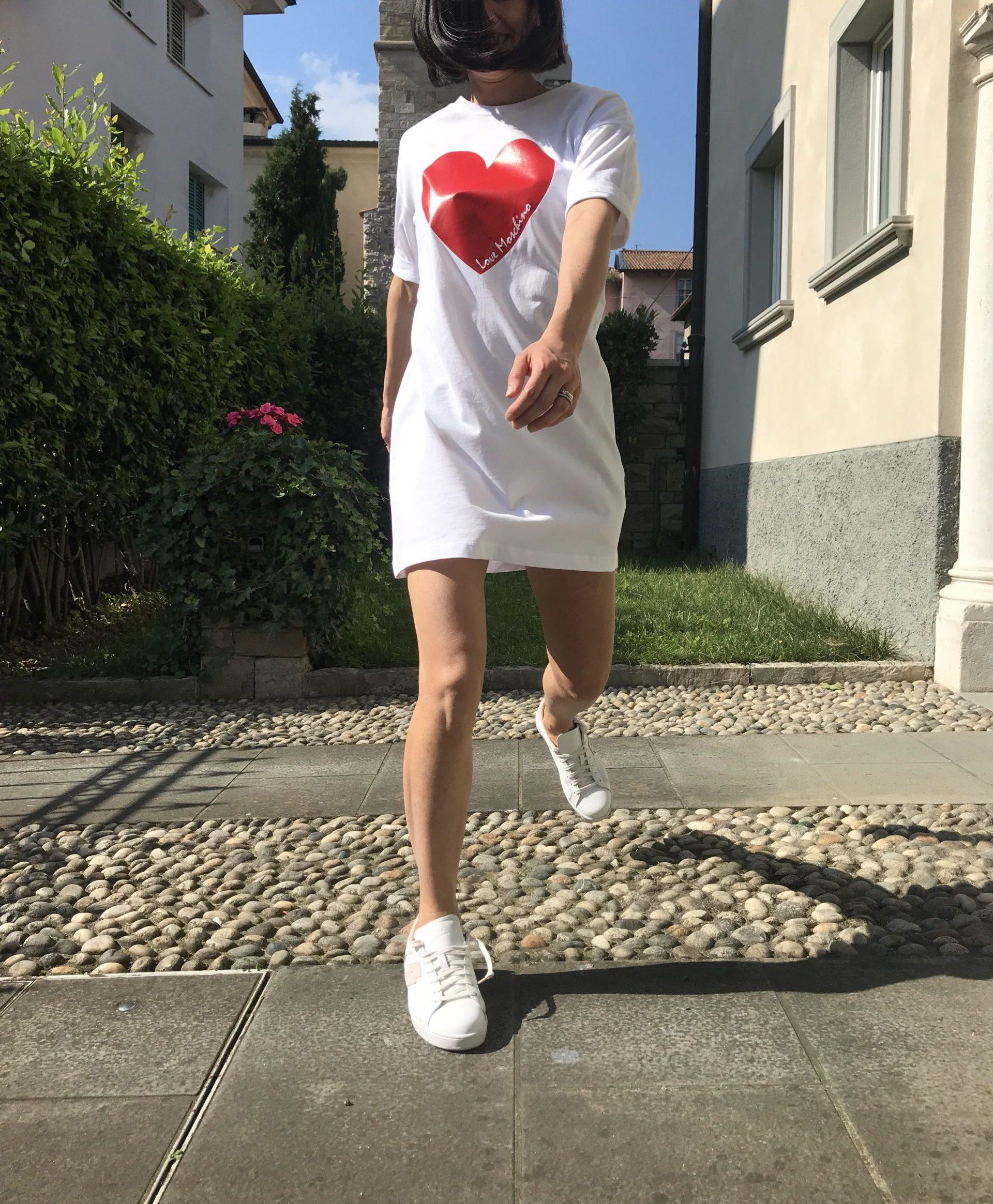 Abito Love Moschino Cuore Bianco