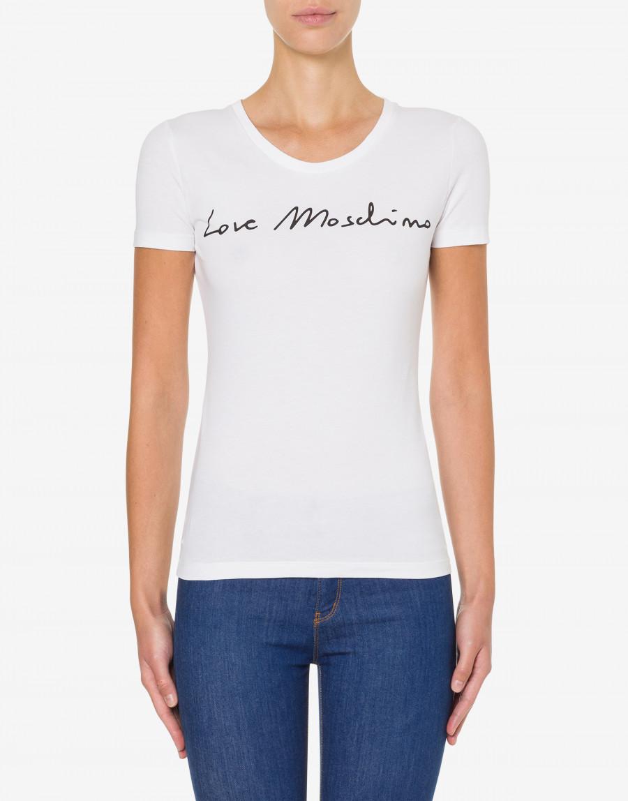 LOVE MOSCHINO T-SHIRT IN JERSEY STRETCH LOGO SIGNATURE