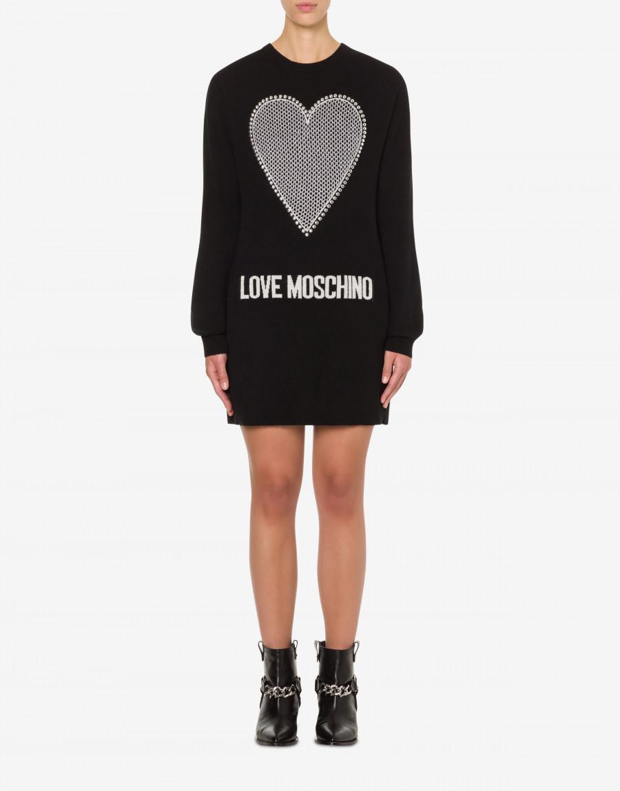 LOVE MOSCHINO ABITO IN MISTO CASHMERE HEART & LOGO