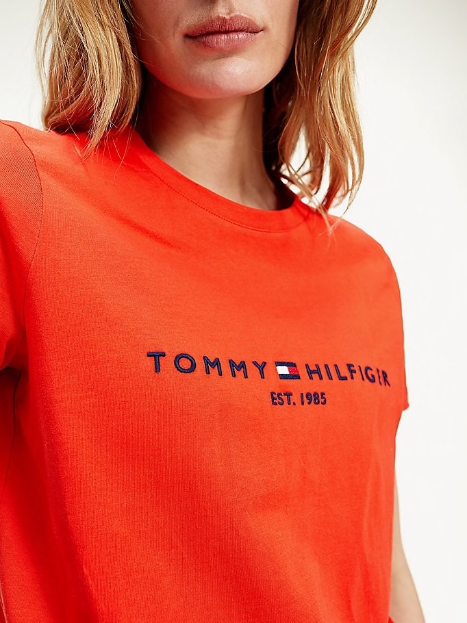 TOMMY HILFIGER T-SHIRT ESSENTIAL CON LOGO ORANGE
