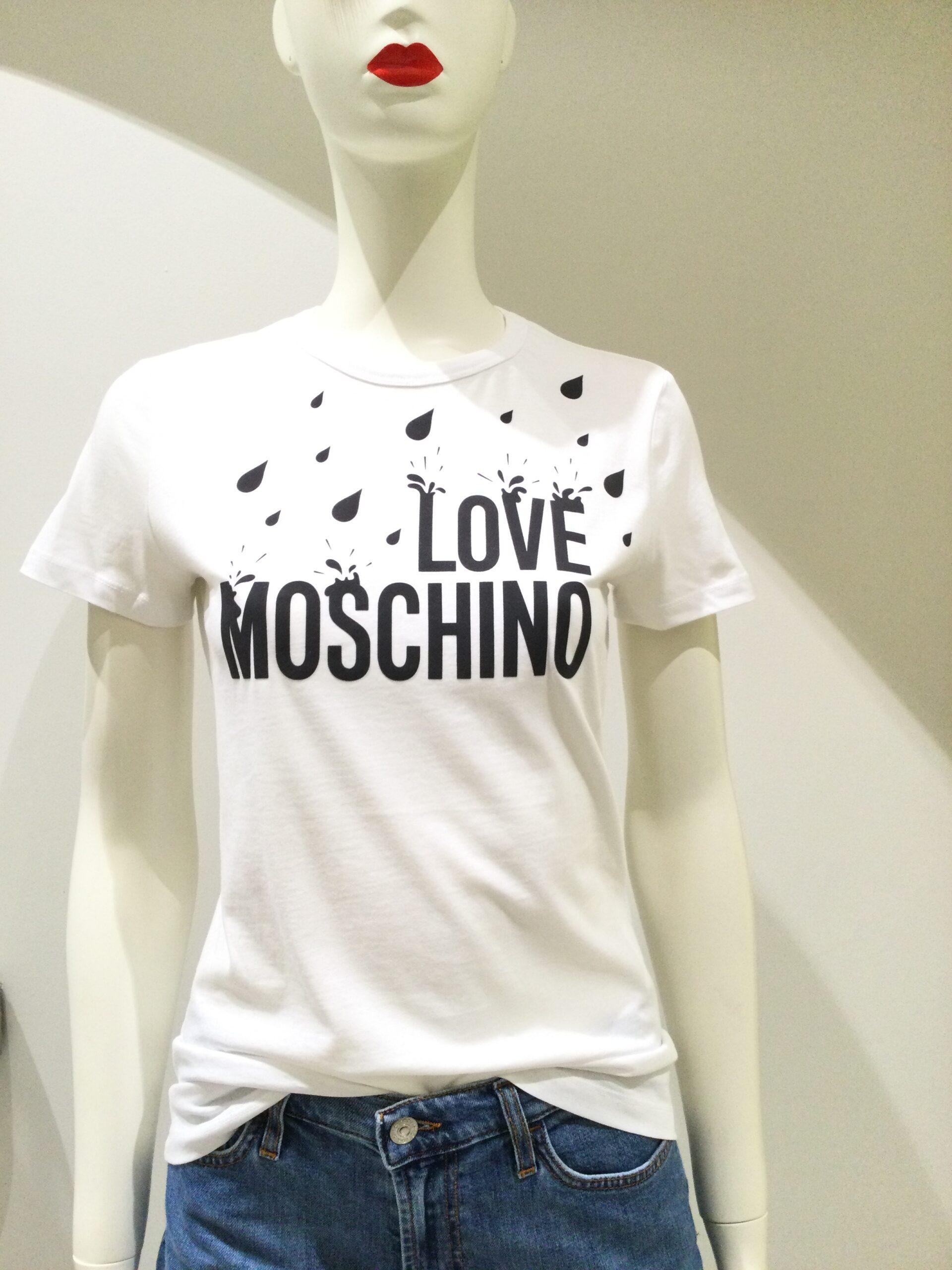 LOVE MOSCHINO T-SHIRT GOCCIA BIANCA