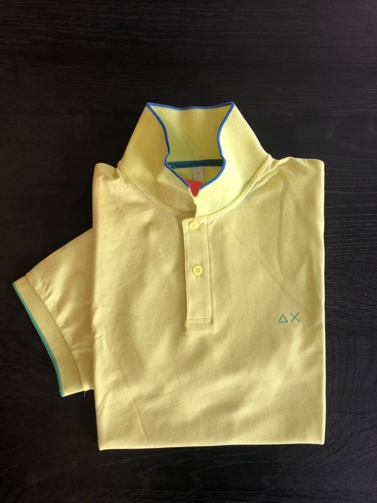 SUN68 POLO SMALL STRIPES ON COLLAR EL. GIALLO