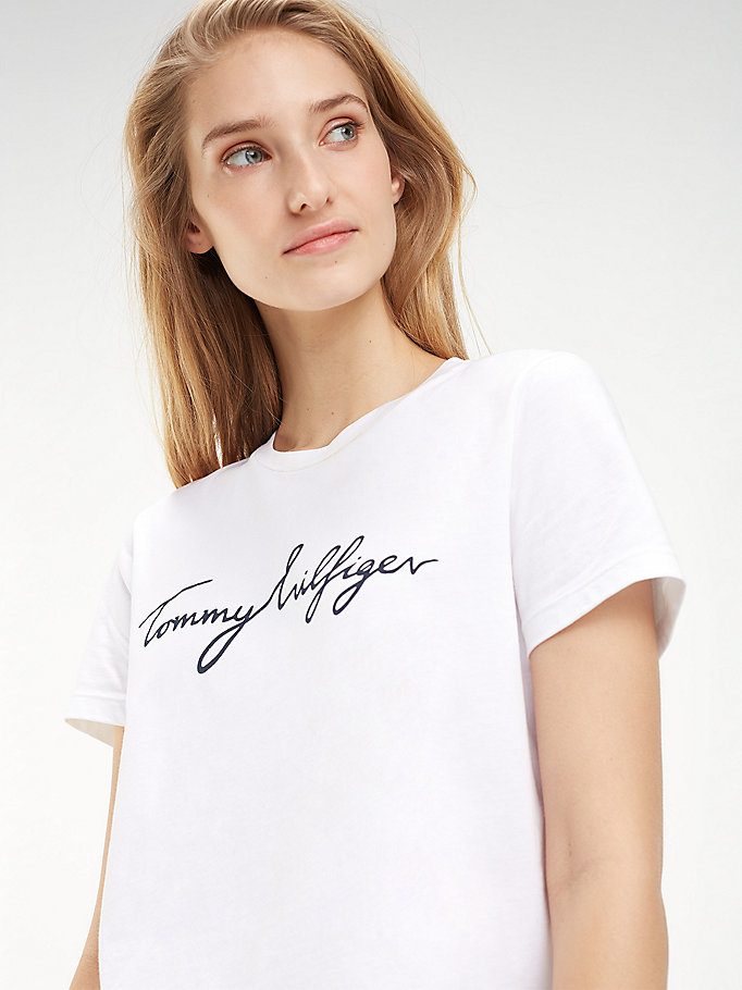 TOMMY HILFIGER T-SHIRT HERITAGE CON LOGO BIANCO